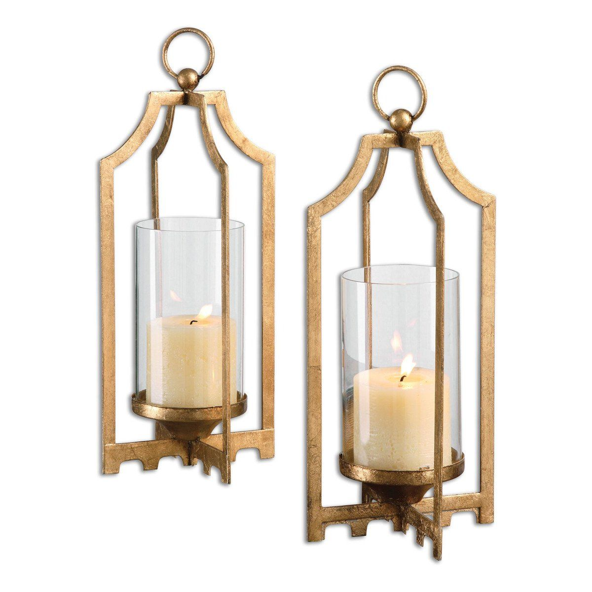Lucy Gold Candleholders, Set of 2 is part of Gold Home Accessories Life - Decor Accents, gold, contemporary, Candleholders, Lucy Gold Candleholders, Set of 2, Uttermost, Metal, Glass, Fratantoni Lifestyles