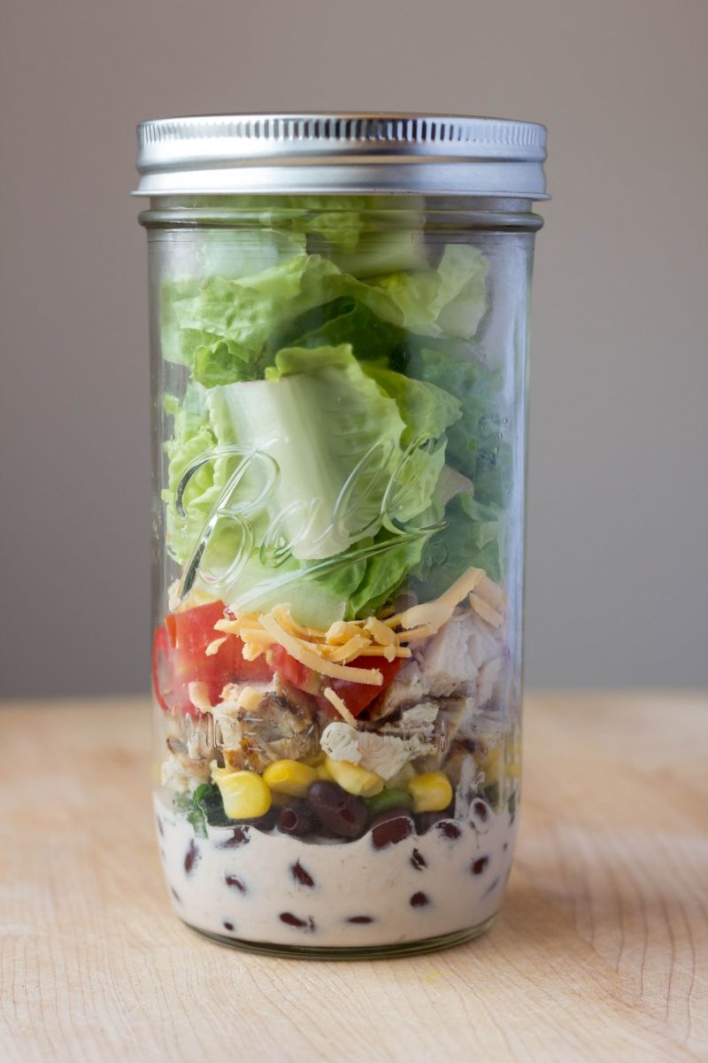 Bbq Ranch Chicken Salads In Mason Jars by Feastie (Not sure how healthy but it looks good)