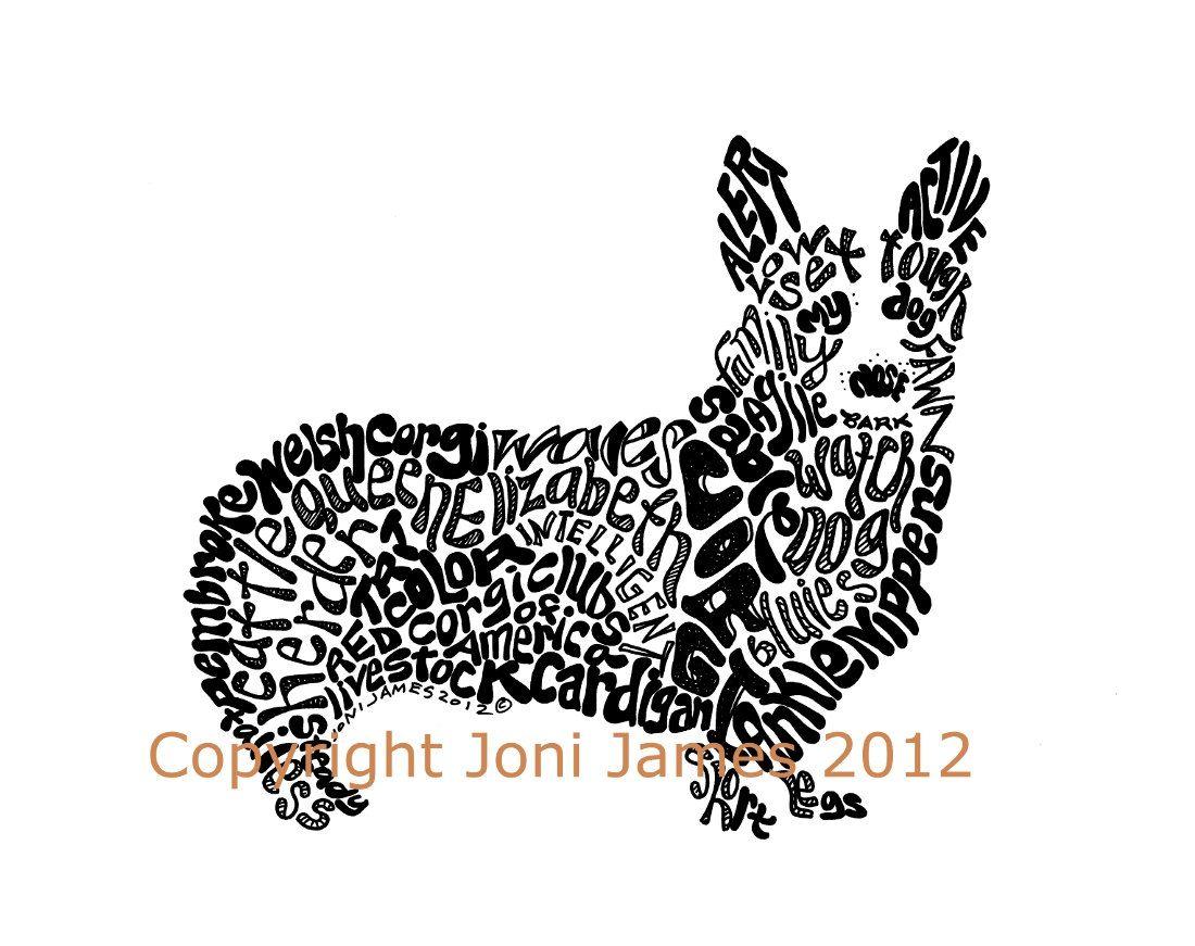 Cute Dog Art Or Corgi Art Print Typography Calligram Or