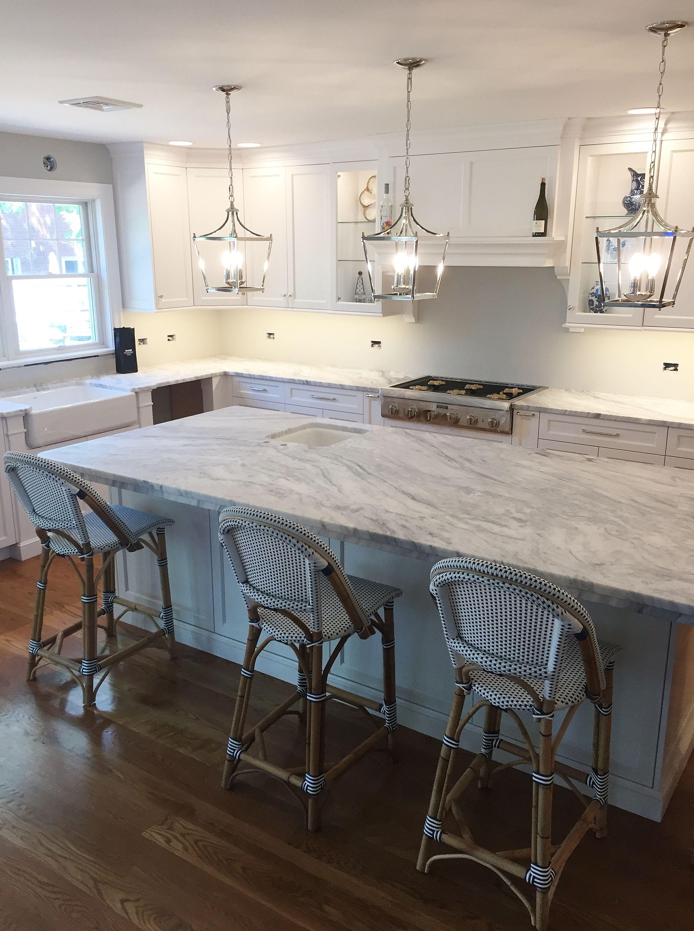 Classic White Kitchen With Stunning Mont Blanc Honed Quartzite