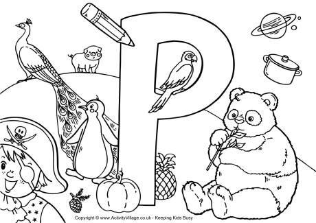 I Spy Alphabet Colouring Page P - perhaps fun? | Spy Party ...
