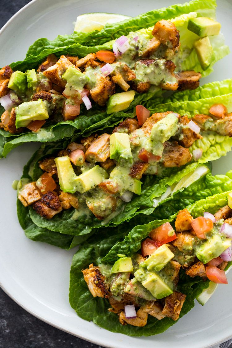 Chicken Taco Lettuce Wraps Healthy Low Carb Keto