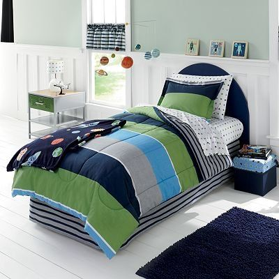 Blue Navy Green Gray Boys Stars And Stripes Full Comforter Set