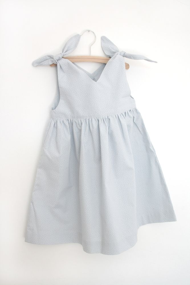 Rabbit Dress- pale grey with dots