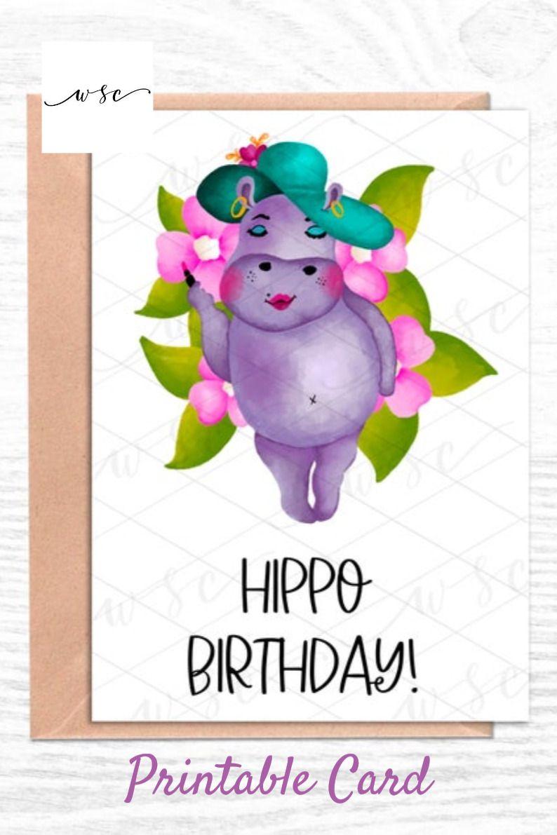 Happy Birthday Card Hippo Birthday Birthday Card Cute Etsy Printable Cards Download Birthday Cards Funny Birthday Cards