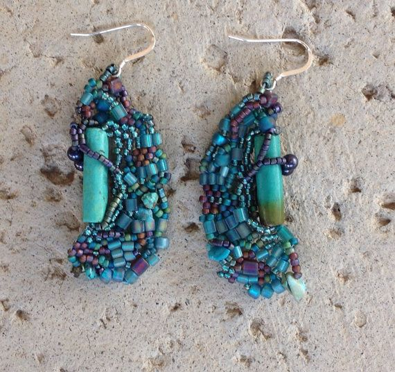 Turquoise earrings in free form peyote by JudesArt on Etsy, $44.00 SOLD