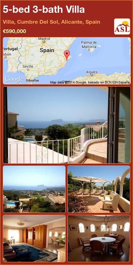 5-bed 3-bath Villa in Villa, Cumbre Del Sol, Alicante, Spain ►€590,000 #PropertyForSaleInSpain