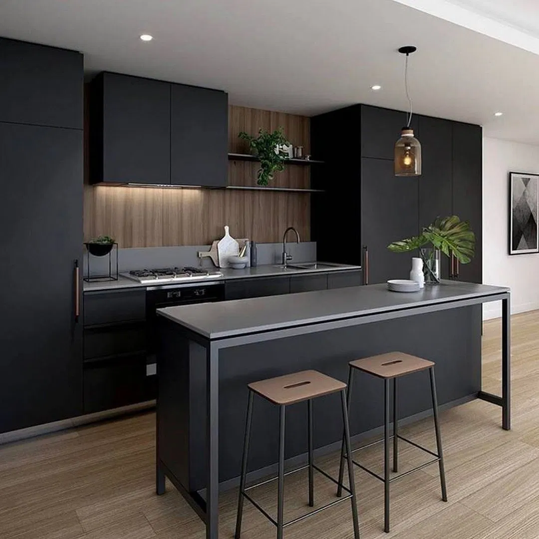14 Amazing Color Schemes For Kitchens With Dark Cabinets Modern Kitchen Cabinet Design Black Kitchen Decor Modern Kitchen Design