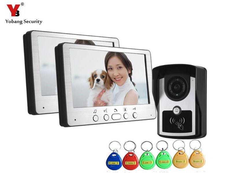 Yobangsecurity Video Doorbell 7 Inches Video Door Phone Door Entry System With Key 1 Camera 2 Monitor Doorbell Intercom Intercom Video Door Phone