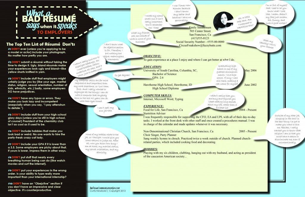 bad resume samples