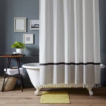 West Elm Stripe Shower Curtain 74X72 Stone White Platinum