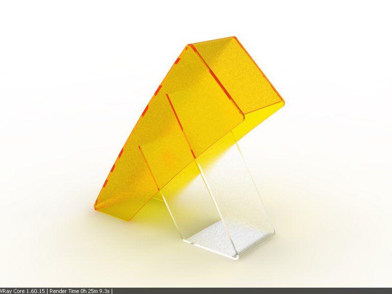 diseño de soporte y pantalla de acrílico para una lampara