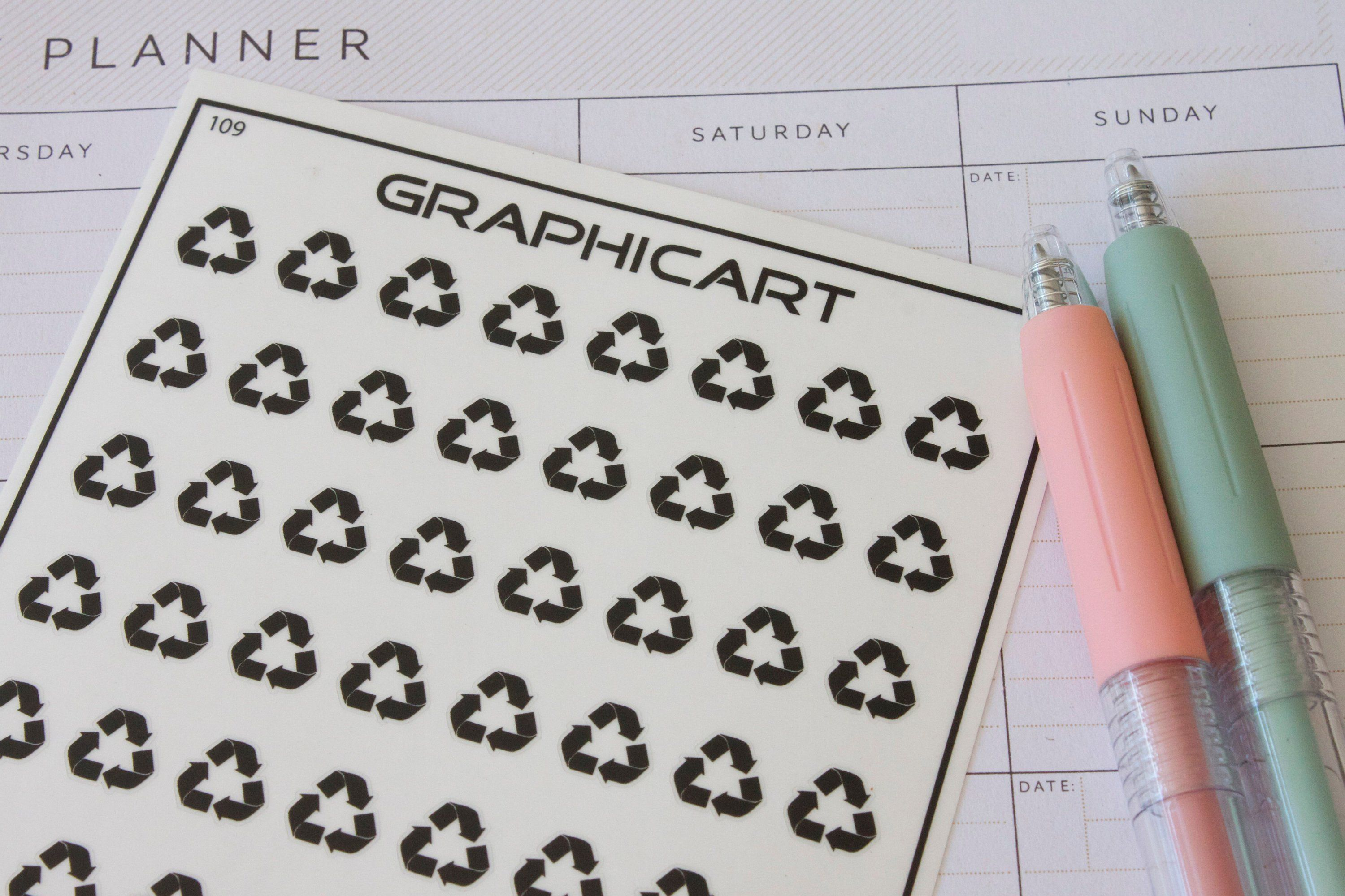 56 Recycle Planner Stickers Recycle Symbol Recycling Garbage