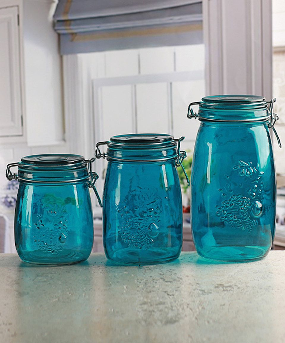 This Aqua Embossed Fruit Vintage Kitchen Canister - Set of Three by ...