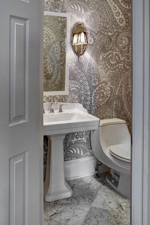 Image Gallery For Website  Sweet Bathrooms with Pedestal Sinks Messagenote Paisley Wallpaper Transitional bathroom