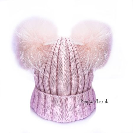 Baby Pink Double Pom Pom Hat  d09577f210d