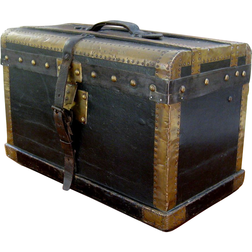 Vintage French Black Leather Travel Trunk C1900 Brass Bound Antique Trunks Vintage Trunks Old Suitcases