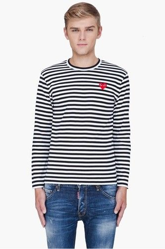 33d198b562750 New Comme Des GARCONS CDG PLAY MENS LONG SLEEVE T-SHIRT TEE BLACK ...