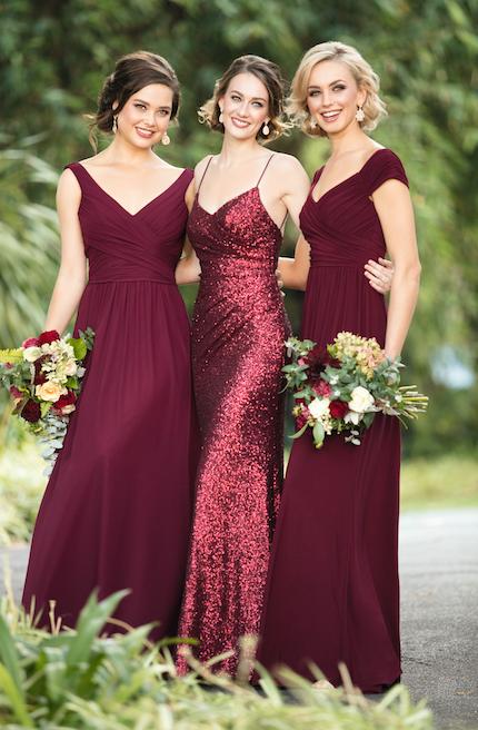 Trends We Love Mixed Berry Bridal Parties Pretty Happy Love Wedding Blog Essense Designs Wedding Dresses Bridesmaid Dresses Bridesmaid Burgundy Bridesmaid Dresses