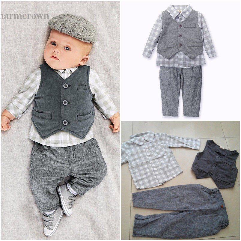 6596b3c49 Newborn Toddler Baby Cute Boy Waistcoat+Pants+Shirt Outfit Clothes ...