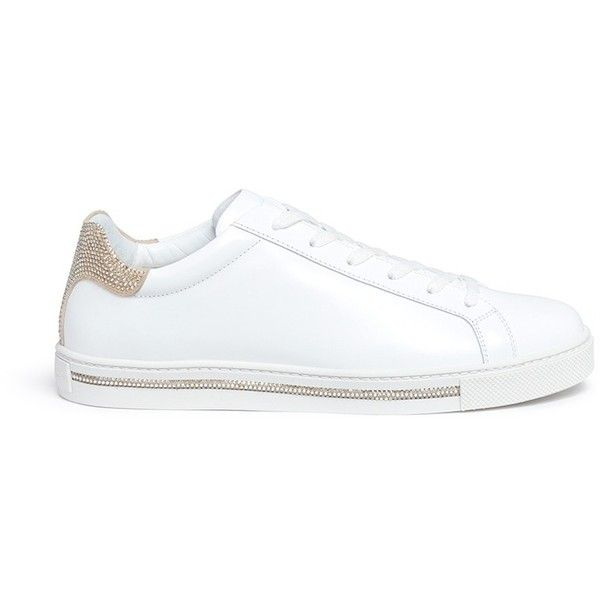 RENé CAOVILLA Strass Leather Low-Top Sneakers 770Aq9w49