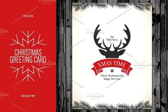 Christmas and New Year greeting card Invitation Templates $500 - new year greeting card template