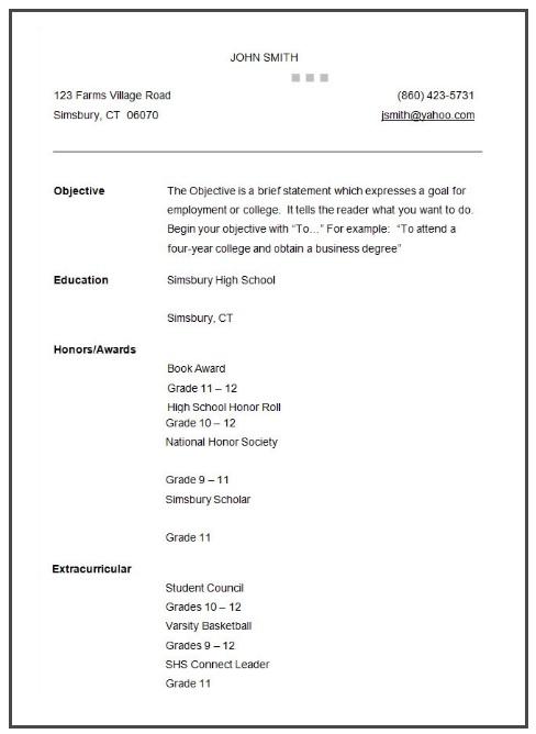 College Admission Resume STUDENT sample RESUME FOR
