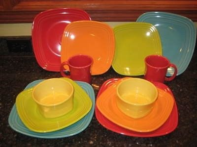 Square Fiesta® Dinnerware in a rainbow of colors   WorthPoint & Square Fiesta® Dinnerware in a rainbow of colors   WorthPoint ...