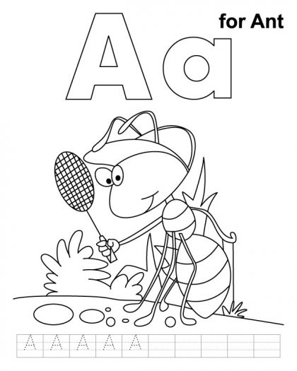 A For Ant Coloring Page With Handwriting Practice Apple Coloring