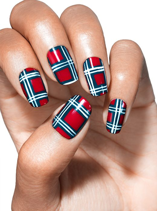 playfully plaid - nail art by essie looks - Playfully Plaid - Nail Art By Essie Looks Nails Pinterest