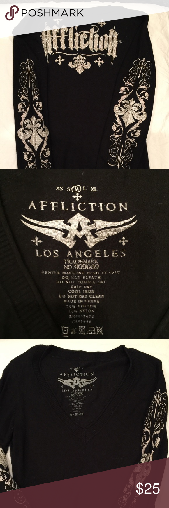 Affliction V neck sweater size M Ladies V neck sweater with rhinestones down the arms and back. Great condition Affliction Sweaters V-Necks