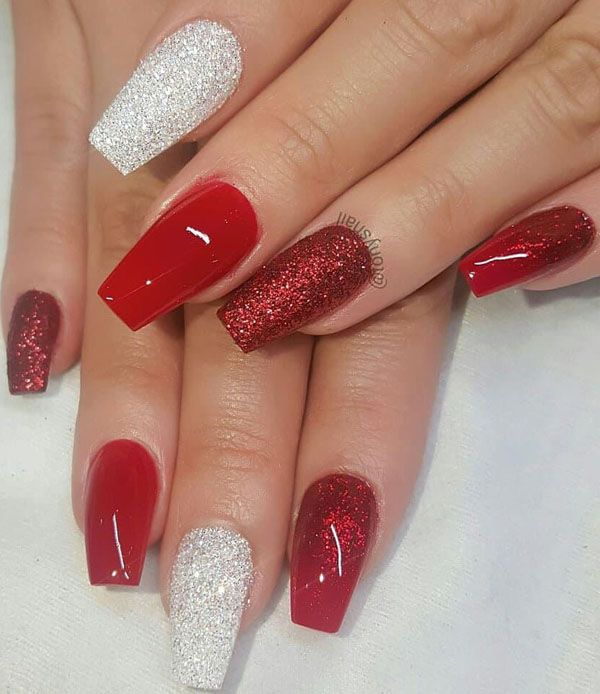 Christmas Acrylic Nails Coffin Shape: 30 Outstanding Coffin Shape Nail Designs In 2020
