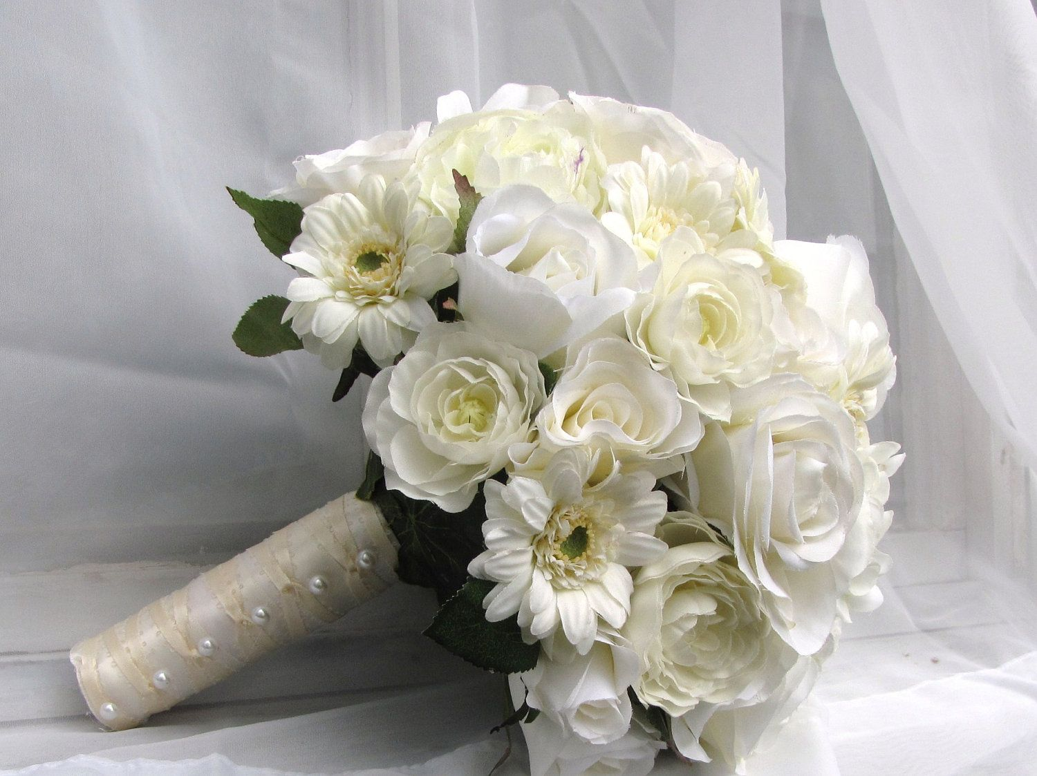 Silk Bridal Wedding Bouquet With Cream Roses Gerbera Daisies