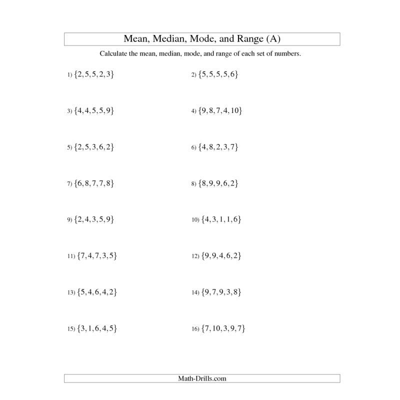 Data Management Worksheet Mean Median Mode And Range Unsorted Sets Sets Of 5 Free Printable Math Worksheets Printable Math Worksheets Math Worksheets
