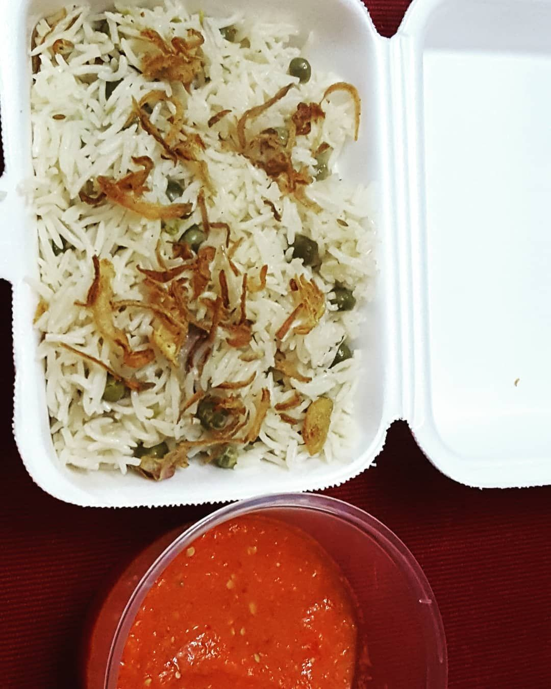 Muttar pulao with Tomato Chuttni  For order plz inbox