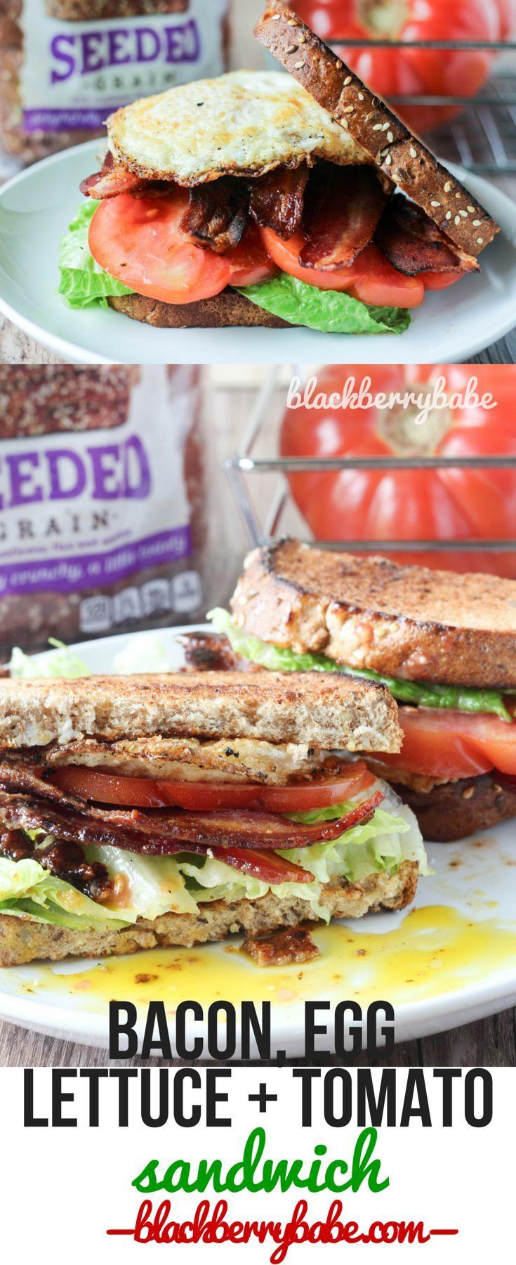 BELT Sandwich- Bacon, Egg, Lettuce and Tomato Sandwich - Blackberry Babe Bacon Egg Lettuce and Toma