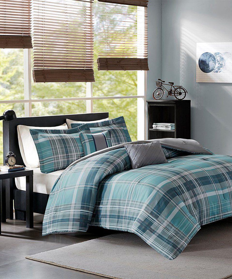 Take A Look At This Gray Amp Aqua Plaid Comforter Set Today