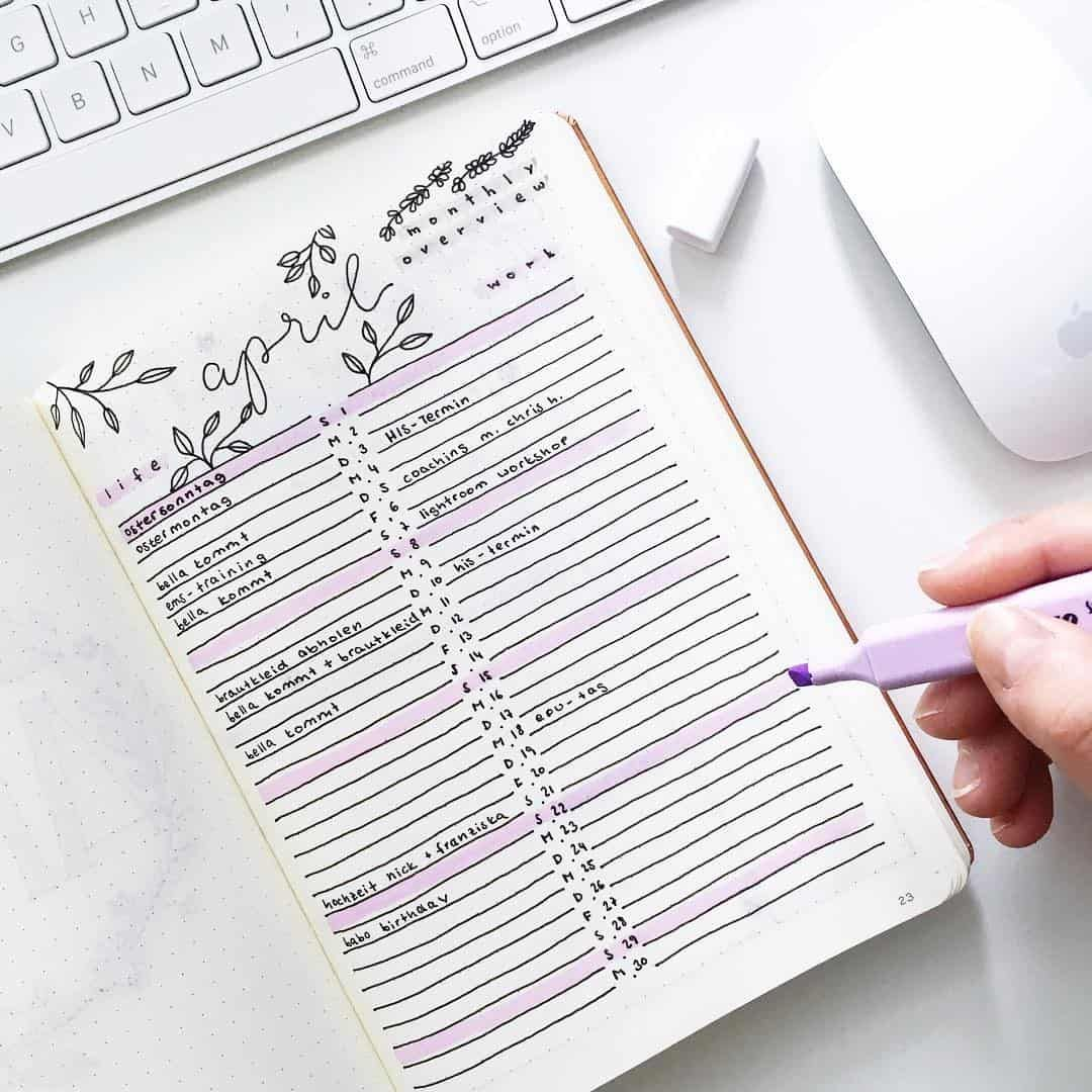 45 different styles to create One Line a Day in your Bullet Journal   My Inner Creative