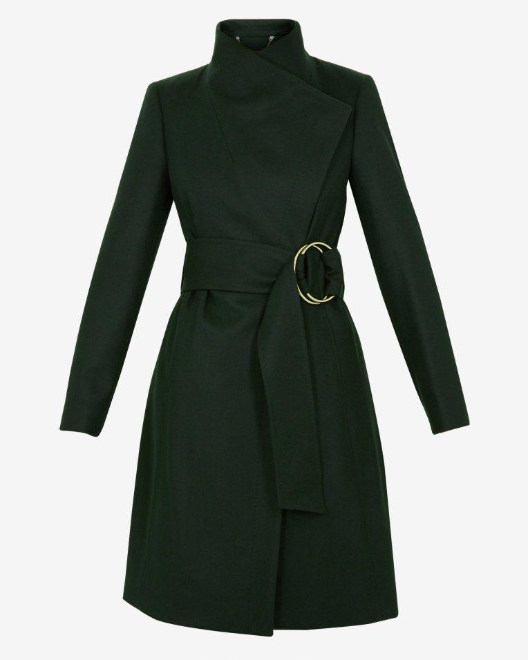 d4955fec5 Belted high neck wool coat - Dark Green