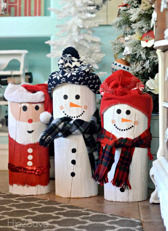 DIY Painted Santa and Snowman Logs is part of Wood christmas decorations, Outdoor christmas decorations, Cute christmas decorations, Diy christmas decorations easy, Christmas wood crafts, Diy santa - Turn ordinary logs into cute Christmas decorations with this easy DIY painted Snowman and Santa tutorial!