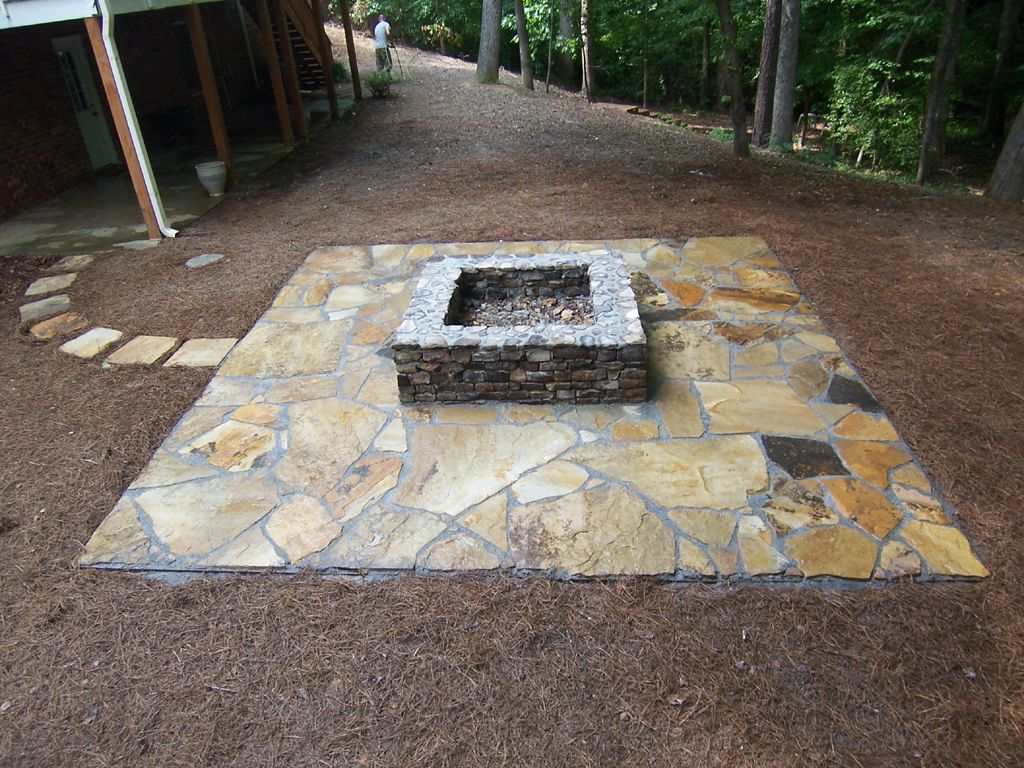 patio ideas with square fire pit. Flagstone Fire Pit Ideas Patio With Square