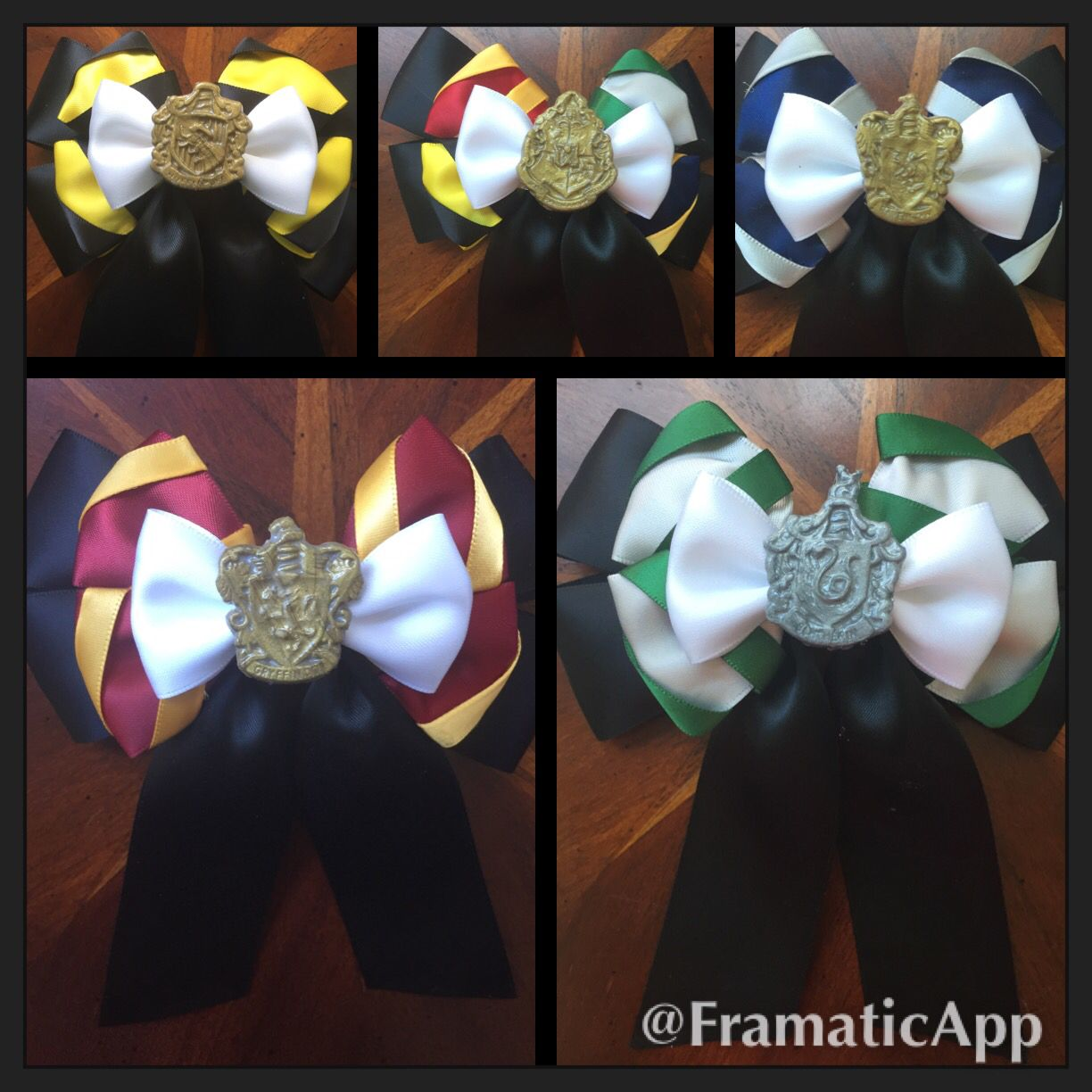 hogwarts school of witch craft and wizardry and house hair bows