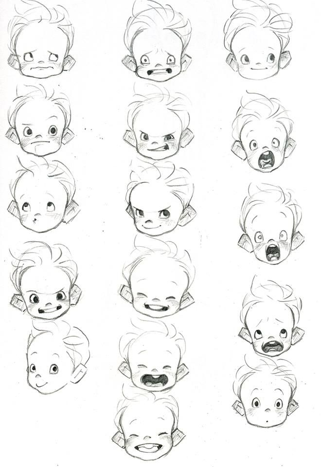 Ejemplo para dibujar expresiones de niños, util para desde el papel ...