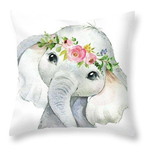 Boho Elephant - Throw Pillow Baby Nursery Girls Bedroom ...
