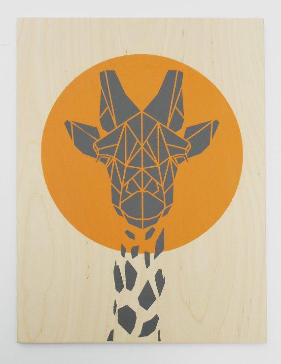 Cute Giraffe on Plywood, Original Art, Stencil Art ... - photo#22