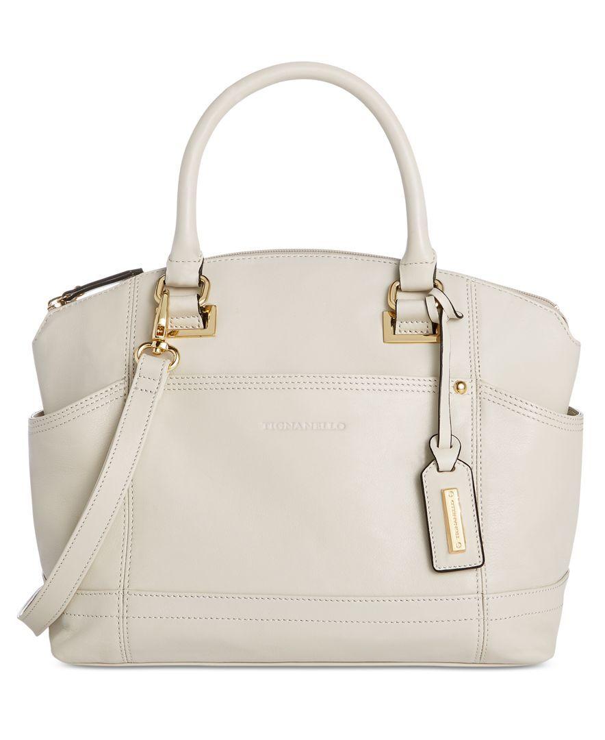 Tignanello Pretty Pockets Smooth Leather Convertible Satchel Handbags Clearance Crossbody Shoulder Bag