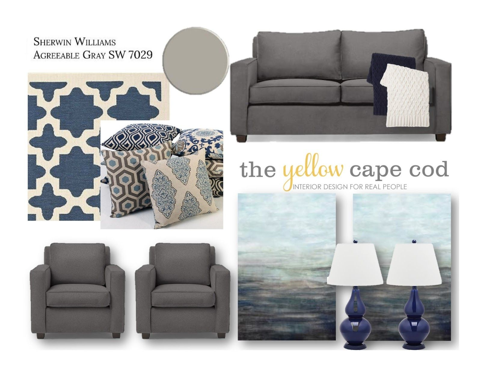 The Yellow Cape Cod: Navy Gray and Tan Sunroom | Colors ...