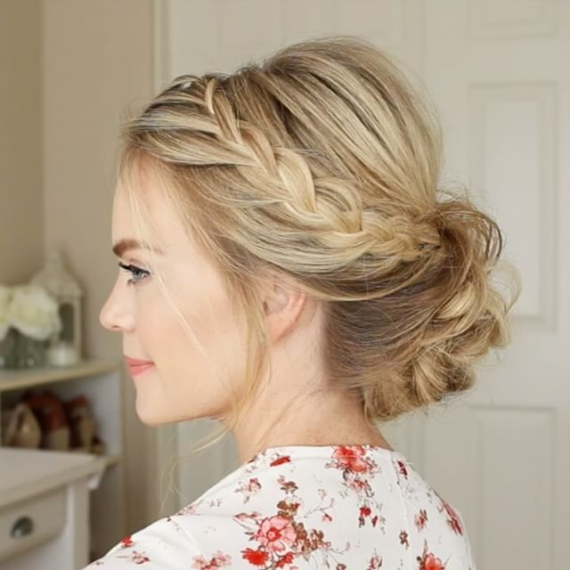 Lace Braid Updo Click The Link In My Bio To Watch The Full Tutorial On Youtube And Feel Free To Tag A Friend Lace Braids Hair Styles Formal Hairstyles