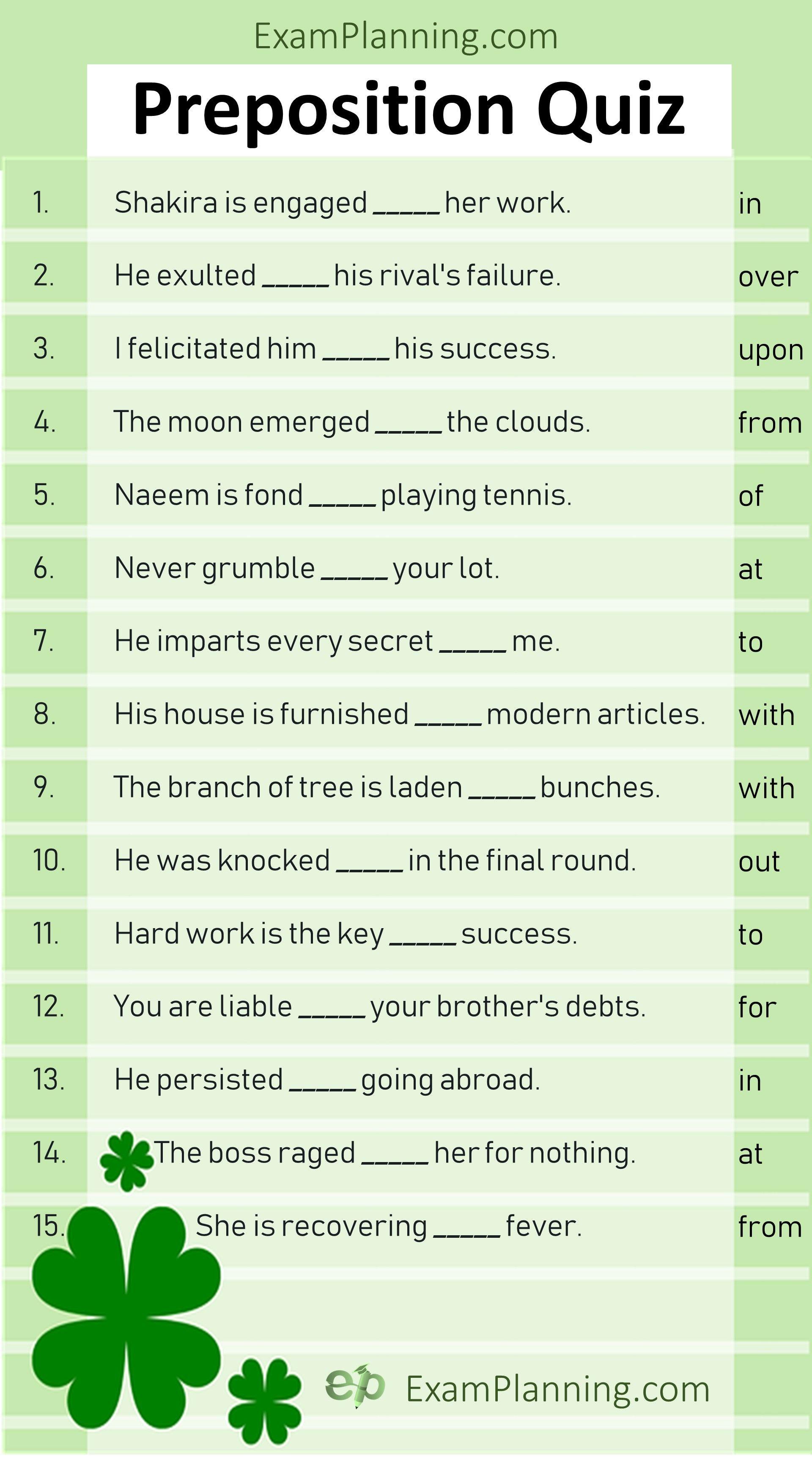 Preposition Quiz Online Test
