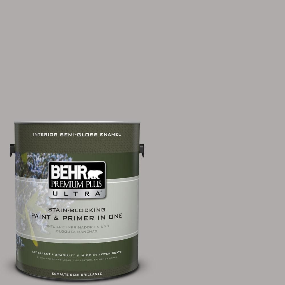 BEHR Premium Plus Ultra 1-gal. #PPU18-14 Cathedral Gray Semi-Gloss Enamel Interior Paint